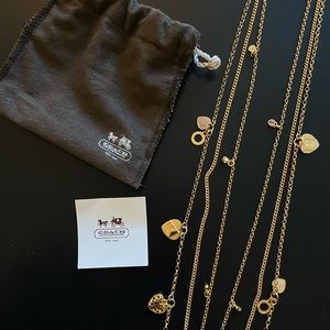 Authentic Gold Plated Coach Triple Strand Necklace